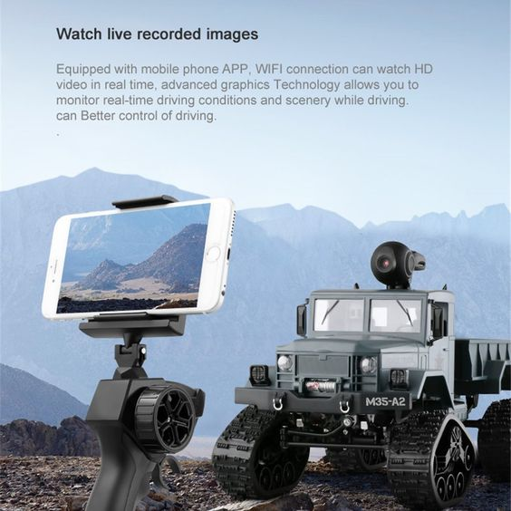 Fayee FY001 1/16 2.4G 4WD Rc Car 720P 0.3MP WIFI Brushed Off-road Military Truck W/ LED Light Sale - Banggood.com