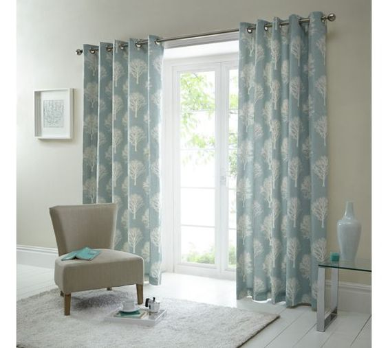 Buy Fusion Woodland Trees Curtains - 117x182cm - Duck Egg at Argos ...
