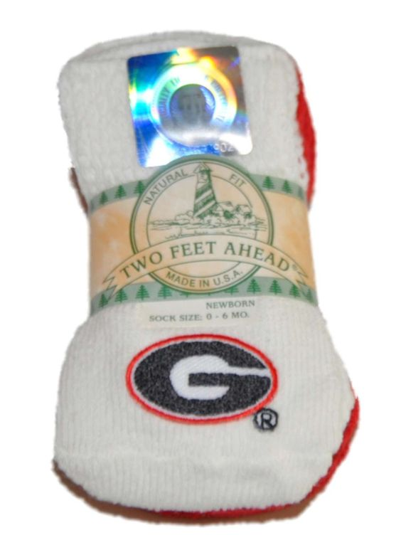 Georgia Bulldogs Two Feet Ahead Infant Baby Newborn 3 Pair Red White Socks Pack