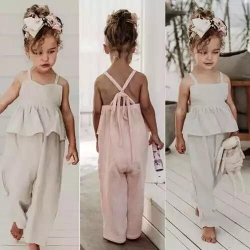 Noubeau Toddler Kids Baby Girl Sleeveless Ruffle Romper Jumpsuit Backless Playsuit Outfit Overalls