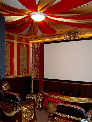 Home Theater Inspiration. Interesting ceiling.