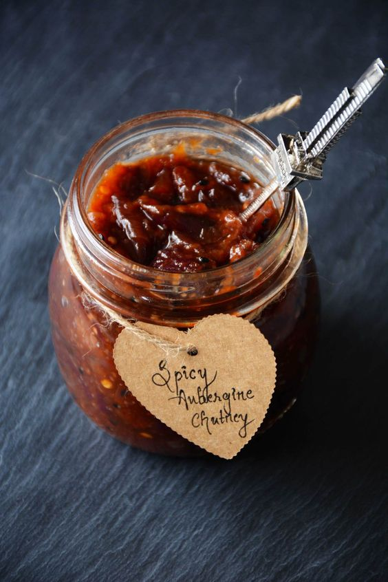 Spicy Aubergine Chutney - deliciously sweet and spicy - thespiceadventuress.com