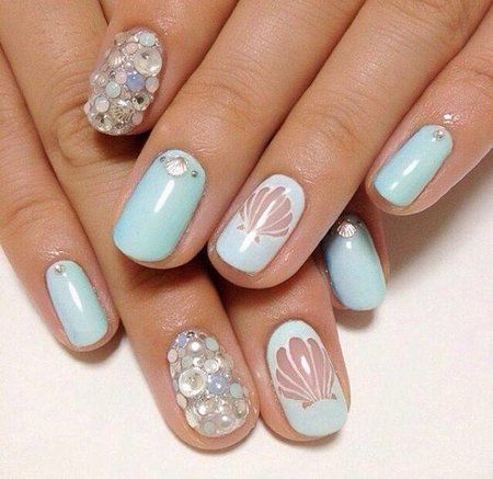 Negative space, Seashells and Pastel blue nails