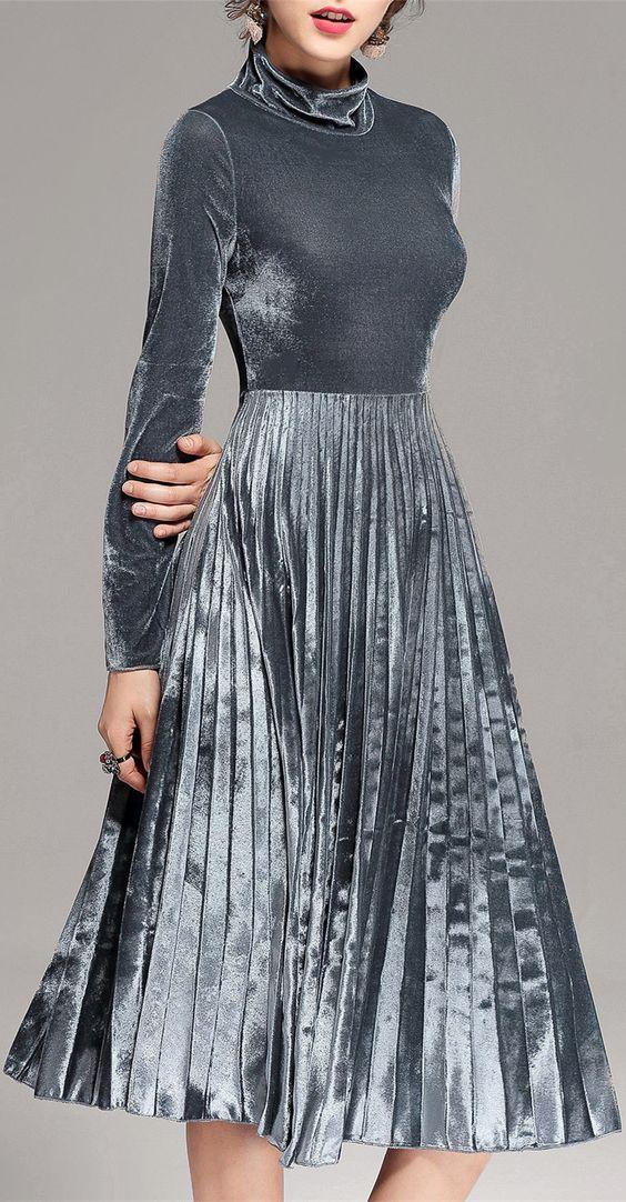 Turtleneck Pleated Velvet Midi Dress: