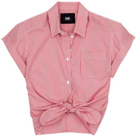 Gingham tie-front shirt