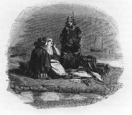 Prent uit boek. Negentiende-eeuwse Scheveningse dracht. Twee vrouwen zitten op het strand met achtgestalde viswaren en manden. De rechtervrouw is op de rug te zien, met vishoed en schoudermantel. De linkervrouw heeft een muts met lange klappen, halsdoek, jak en rok met schort. De man, staand, heeft een fantasie punt muts op, met een stropje, korsjak en hemrok, broek en laarzen. Op de achtergrond is vaag een schip te zien. 1870 #ZuidHolland #Scheveningen