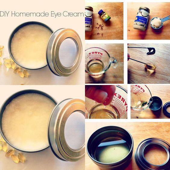 طريقة صنع كريم العين لمكافحة تجاعيد العين ١ ٢ كوب زيت جوز الهند الأصلي Organic Coconut Oil 6 8فيتامين E Vita Homemade Eye Cream Health Skin Care Body Skin