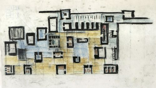 Lovely sketch by recent RIBA gold medal winner Zumthor for the Thermal Vals.