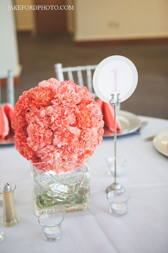 Coral carnation ball centerpiece modern coral gray for Table coral sample