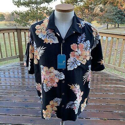 Men/'s Silk Blend Camp Shirt Size XL Blue Hawaiian Aloha Caribbean Floral Top