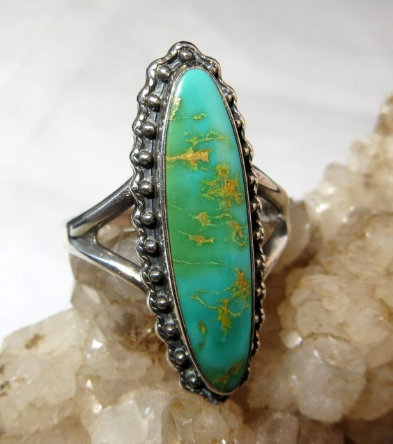 Native American Turquoise Ring Size 9 Sterling Silver: