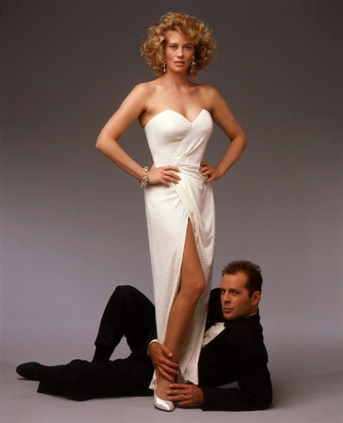 """Cybill Shepherd and Bruce Willis in the great 80's TV show """"MOONLIGHTING""""...We Loved This Show....Sassy Shepherd Met Her Match In Killer """"Big Headed"""" Willis...and Sparks Flew!!  Great Scripts With Crisp Dialogue & Superb Music Too!!  A Hit!!"""