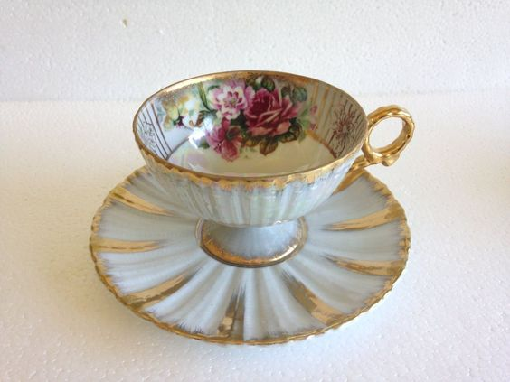 vintage Royal Sealy China Japan Roses Pattern Tea Cup & Saucer Set gold trim #RoyalSealy
