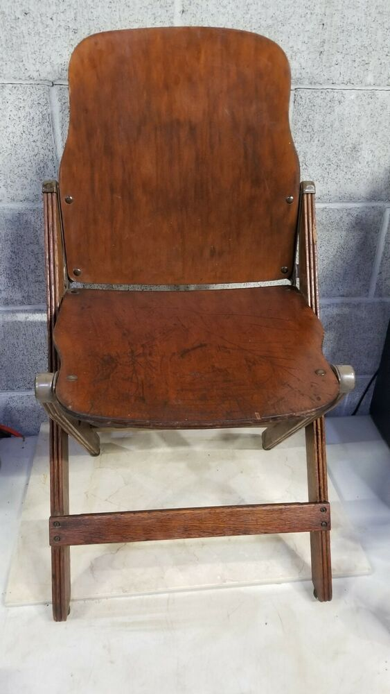 Vintage 40s US American Seating Co WOODEN FOLDING CHAIR PAIR