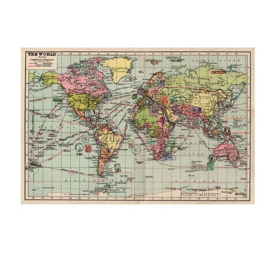 ¿Viajero incansable? ¿Listo para empezar tus vacaciones? ¿Eres un apasionado de los mapas? ¿Odias estar leyendo algo y no saber exáctamente dónde está el lugar del que hablan? En cualquier caso, este mapa antiguo es perfecto para ti. Con las rutas comerciales más importantes de principios de siglo, si estética vintage a todo color te cautivará. #mapa #mundo #vintage