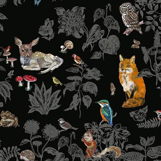 I can see a bathroom with this wallpaper, but I wonder if it would be a mistake. I don't know if I'd want that fox staring at me like that...
