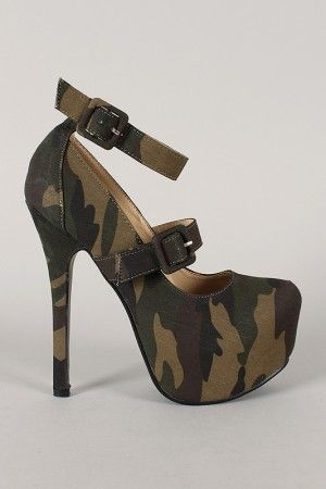 Camouflage Double Strap Platfrom Pump
