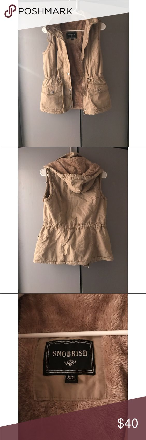 Snobbish tan vest.  Size medium Snobbish vest worn twice.  In great condition with fur on the inside.   Very warm and great for layering! Love just don't wear anymore.  Bought at a local boutique. Jackets & Coats Vests