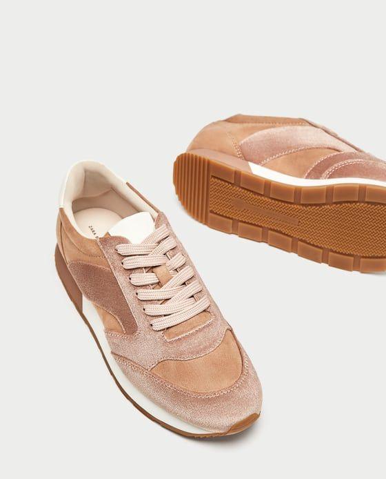 Image 1 Of Pink Velvet Sneakers From Zara Sneakers Zara Sneakers Velvet Sneakers