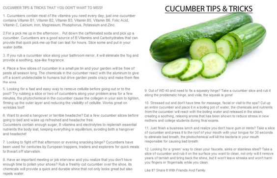 Cucumber Tips & Tricks! Great ideas here. #cleanliving #wellness #putdownthatcookie
