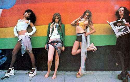 Lori Maddox (far left) and friends posing during a shoot with the New York Dolls, 1973