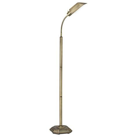 Ott Lite Alexander Brass Energy Saving Gooseneck Floor Lamp 97708 Lamps Plus Deco Palermo Muebles