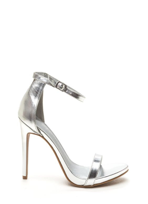 Event Ready Metallic Single Strap Heels SILVER | Commencement ...