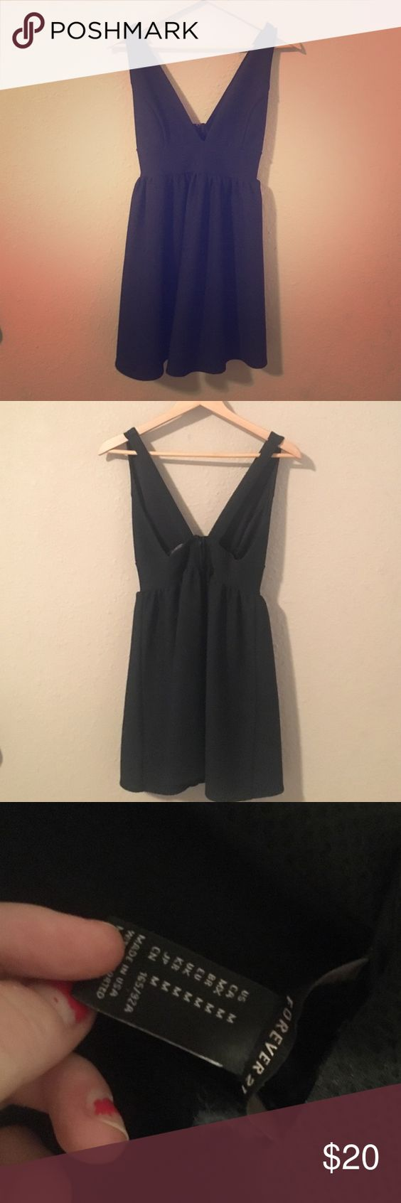Dressy deep V going out dress GREAT quality. The material is thick enough to skip the bra. Very low V cut though so it's pretty reviling. Forever 21 Dresses Mini