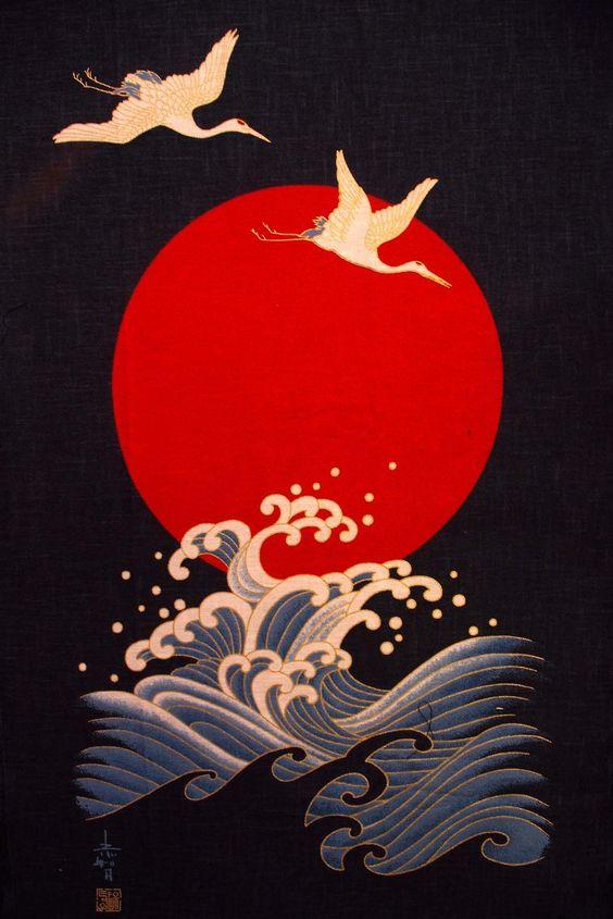 Japanese crane fabric: