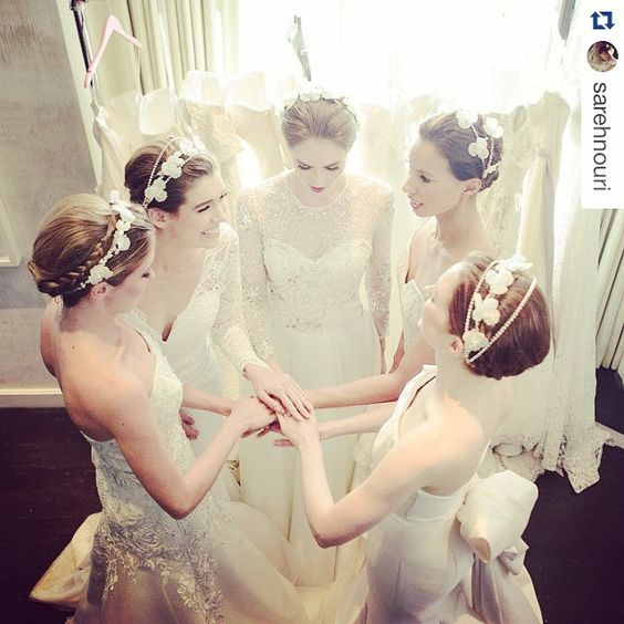 #tbt - lovely backstage shot of our headpieces at @sarehnouri 's show for Bridal Fashion Week Photo: @syed_syphotography #headpieces #sayyestothedress #weddingdress #jenniferbehrbride #hairinspiration #veil #weddingheadpiece #jenniferbehr