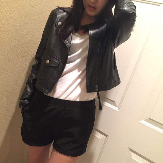 Black Leather Biker Jacket Barely wore. In very good condition. Jackets & Coats