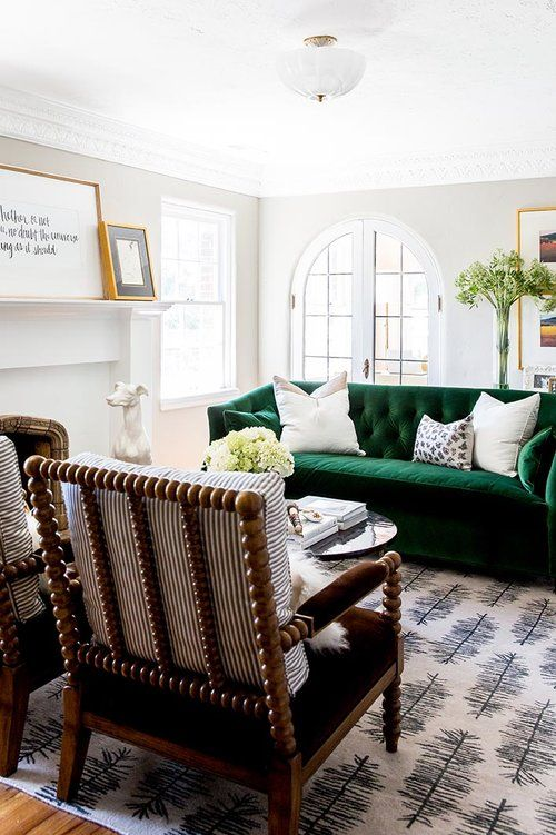 Traditional Living Room Emerald Couch Velvet Couch Coastal Accent Chair Area Rug In 2020 Living Room Green Transitional Living Room Design Green Sofa Design