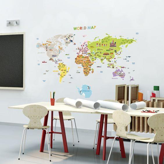 Stickers pour les bébés - Sticker carte du monde géante pour enfants | Ambiance-live.com