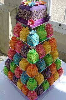 Con aire de Bollybud-Página con torres de cupcakes