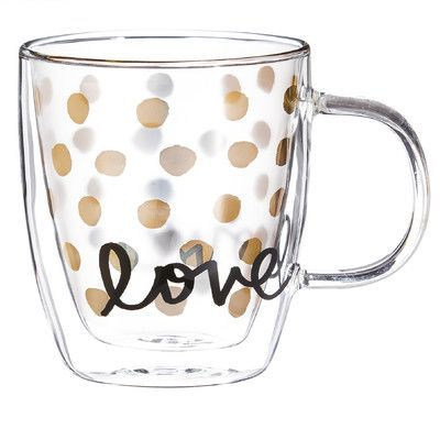 Brayden Studio Tolle Love Glass 12 oz. Coffee Cup