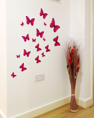 18 Pink Butterflies Wall Stickers