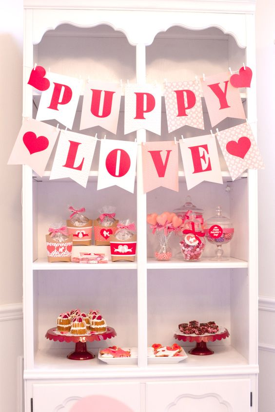 Puppy Love Valentine's Day Party Dessert Display - #valentines