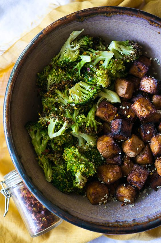 Crispy Air Fryer Asian Tofu and Broccoli