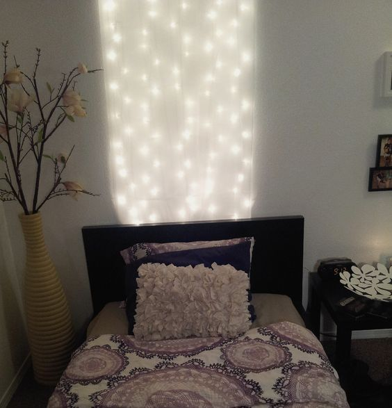 DIY Headboard under $10! 1 pack of white christmas lights and ...