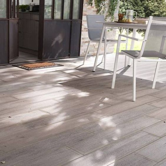 carrelage terrasse bois gris 16 x 100 cm sansio castorama jardin pinterest. Black Bedroom Furniture Sets. Home Design Ideas