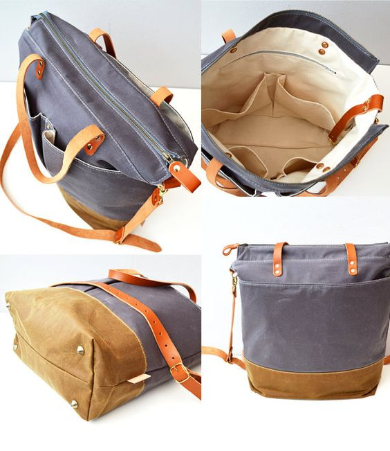 Grey & Tan waxed canvas baby diaper bag nappy bag by ForestBags