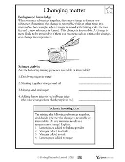 Reversible and irreversible changes in matter - Worksheets ...