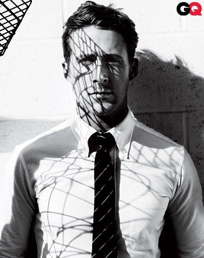 GQ January 2011: Ryan Gosling // Shirt by Thom Browne New York. Tie by Bottega Veneta.