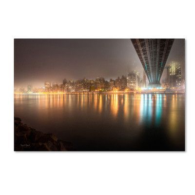 """Trademark Art """"Fog Under the Queensborough Bridge - Midtown"""" by David Ayash Photographic Print on Wrapped Canvas Size:"""