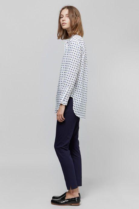 Apiece Apart Classic Augustina Button-Up Shirt | Apiece Apart Camilla High-Waisted Trouser - Black | Dieppa Restrepo Serge Loafer | My Chameleon