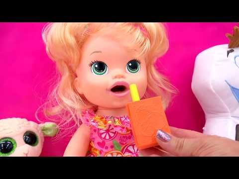 Baby Alive Super Snacks Snackin Sara Feed Doh Food Doll Toy Play Video Youtube In 2020 Baby Alive Doll Toys Super Snacks