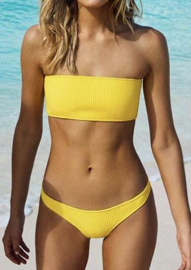 #falloutfits #AdoreWe #FairySeason - #Solid Solid Strapless Bikini Set - AdoreWe.com