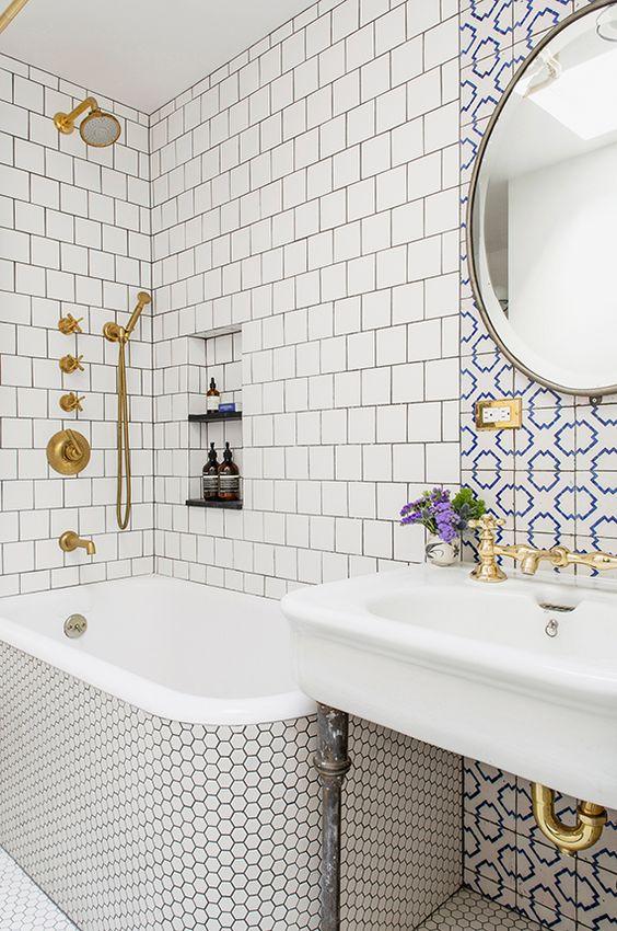 Baldosas Cuarto Baño:hexágonos baños de baldosas baño lechada latón duchas baldosas