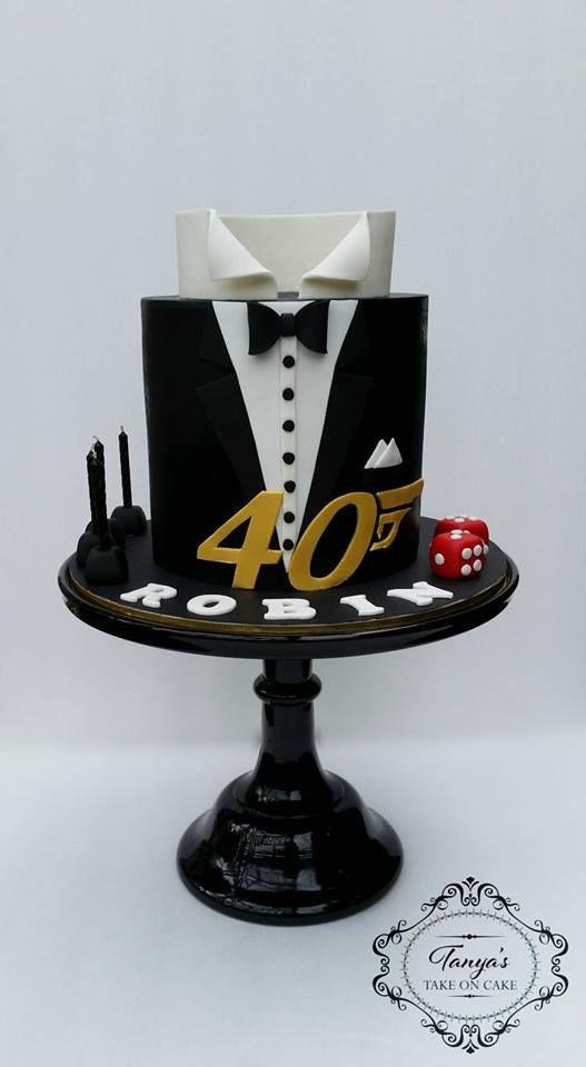 James Bond Cake 007 Cake Tuxedo Fondant Cake My Cakes