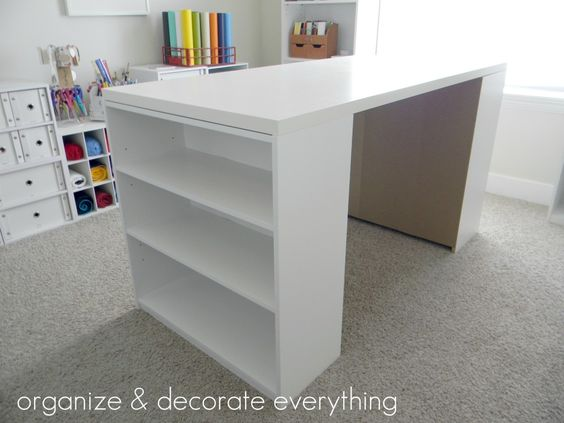 Inexpensive DIY Craft Table:  IKEA desktop for $25  Wal-Mart bookcases $15 each.  $55 total, wow!! Why didn't I see this 2 months ago?!